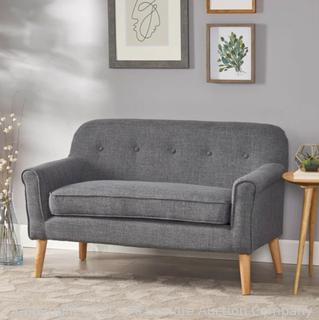 Mid-Century Modern Button Tufted Fabric Upholstered Loveseat W/ Tapered Legs - NH792103