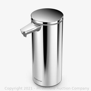 simplehuman 9 oz. Touch-Free Rechargeable Sensor Liquid Soap Pump Dispenser. Polished Stainless Steel