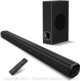 Soundbar with Subwoofer.2.1CH with 3D Surround Sound. Works with 4K & HD TVs. HDMI(arc)/Optical/Aux/USB Drive/Bluetooth5.0 Connection(Model: P28.160W) (Missing Remote)