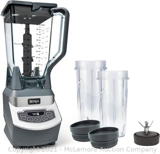 Ninja BL660 Professional Countertop Blender with 1100-Watt Base. 72 Oz Total Crushing Pitcher and (2) 16 Oz Cups for Frozen Drinks and Smoothies. Gray (main container has a crack)