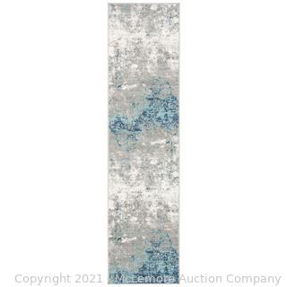 Safavieh - Rug Size: Runner 2' x 12' - N'Keal Abstract Light Gray/Blue Area Rug - New - See Link -$55