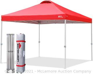 MASTERCANOPY Durable Ez Pop-up Canopy Tent with Roller Bag (12x12. Red)