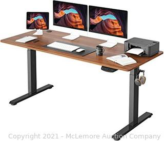 FEZIBO Height Adjustable Electric Standing Desk. 63 x 24 Inches Stand Up Table. Sit Stand Home Office Desk with Splice Board. Black Frame/Espresso Top