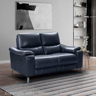 Indigo Bay Leather Power Reclining Loveseat with Power Headrests - Blue Top Grain Leather. 2 Power Recliners with Power Headrests. two USB ports by Northridge Home - BRAND NEW - $1099 - SEE LINK