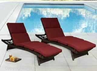 2 Pack! Sunbrella Performance Fabrics Outdoor Chaise Lounge Cushions - Red - NEW in box - $248 at WalMart - See Link