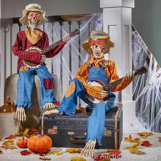 Halloween Decorations Animated Dueling Banjo Skeletons Plays Music & Phrases . Automatic Motion or Sound Sensor Activation . Light-Up LED Eyes - New Open Box - Appears complete - $126.99 - SEE LINK