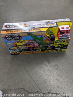 Machine Maker Construction Mega City Service Team. 39-piece Set - Open Box - Damage Box - Appears Complete but MAY be missing a couple pieces