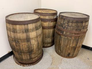 (3) Whiskey Barrels