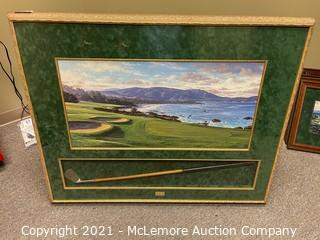 Framed Print of Pebble Beach with Club by Larry Dyke