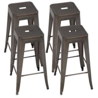Metal Bar Stools Set of 4 Counter Height Bar Stool 30 Barstools Industrial Patio Stool Stackable Stool Modern Backless Indoor/Outdoor Metal Bar