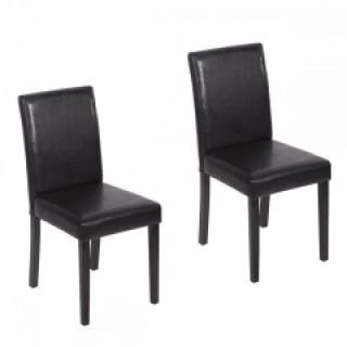 Set of 2 Black Leather Contemporary Elegant Design Dining Chairs Home Room