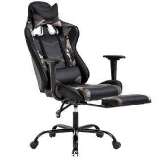 PC Gaming Chair Ergonomic Office Chair Desk Chair with Lumbar Support Headrest Arms Footrest Modern Task Rolling Swivel High Back PU Leather Computer