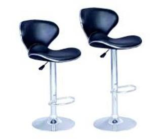 Leather Bar Stools, 2, Black