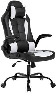 Black/White Massage Gaming Chair