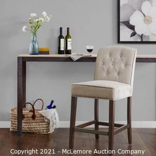 Beige Tufted Counter Stool