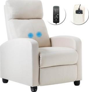 Beige Reclining Massage Chair