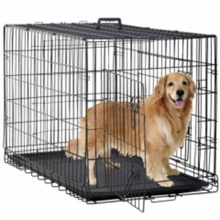 BestPet Dog Crate Cage Extra Folding Large Double Door Pet Crate W/Divider & Tray,48""