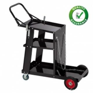 Welding Cart Plasma Cutter Cart 3-Tier Universal Heavy Duty MIG TIG ARC Storage for Tanks with 2 Safety Chains, Black
