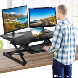 Standing Desk Adjustable Desk Stand Up Desk Computer Workstation 32 inches Home Office Coverter Riser Computer Desk with Keyboard