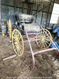 Horse Drawn Double Seat Buggy with Surrey Top Setup for Single Tree Pull