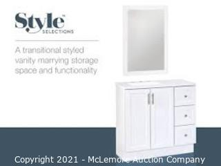 Style Selections 36-in White Single Sink Bathroom Vanity with White Cultured Marble Top (Mirror Not Included)