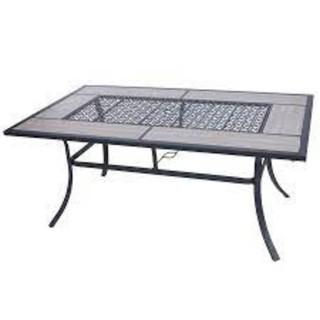 Style Selections Elliot Creek Rectangle Outdoor Dining Table 40-in W x 66.9-in L with Umbrella Hole