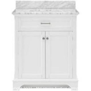 allen + roth 30-in White Undermount Single Sink Bathroom Vanity with Natural Carrara Marble Top