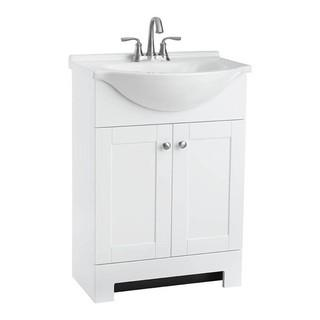 Style Selections Euro 24-in White Single Sink Bathroom Vanity with White Cultured Marble Top