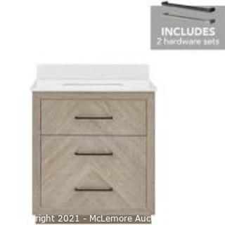 Style Selections 30-in Weathered Oak Undermount Single Sink Bathroom Vanity with White Engineered Stone Top