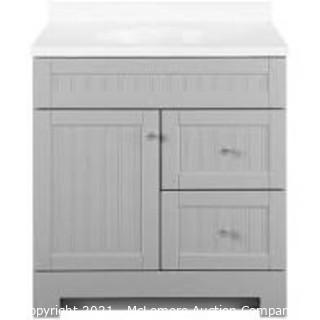 Style Selections Ellenbee 30-in Gray Single Sink Bathroom Vanity with White Cultured Marble Top