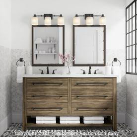 allen + roth Kennilton 60-in Gray Oak Undermount Double Sink Bathroom Vanity With Gray Oak Engineered Stone Top