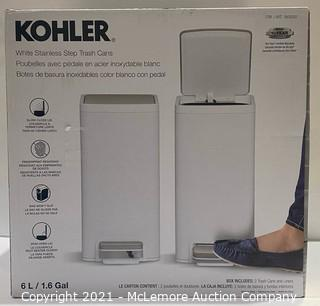 Kohler 2-Pack 6 Liter Stainless Steel Step Trash Bin (White) - NEW (open box)