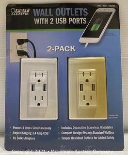 Feit Electric 2-Pack Wall Outlets w/ USB Ports - CUSTOMER RETURN (see pics/description)