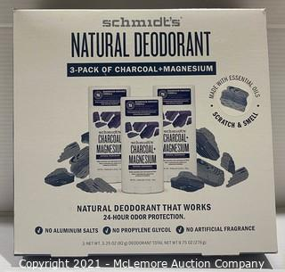 Schmidt's Natural Deodorant 3-Pack of Charcoal + Magnesium - APPEARS NEW