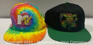 2-Pack Hat Set MTV Hat (Rainbow) + Teenage Mutant Ninja Turtles Pixel Turtle Hat (Black/Green) - NEW