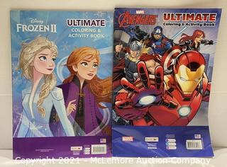 2-Pack JUMBO Ultimate Coloring & Activity Books Disney Frozen II + Marvel Avengers - NEW