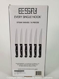 ESN Steak Knife Set of 6 Gift Box, Premium Smooth Serrated Dinner Knives