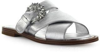 MICHAEL KORS Frieda Silver Leather Rhinestone Slide Sandal,7.5