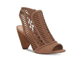 Vince Camuto Womens Eshantel Leather PEEP Toe Slingback Classic Tan, 9