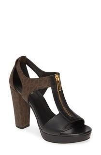MICHAEL KORS Berkley T-Strap Sandal in Brown, 7.5