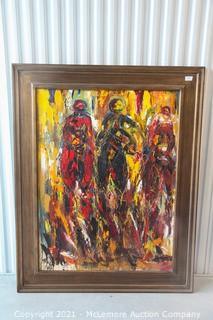 Original Horse Racing Abstract Painting.