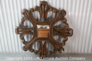 "Decorative Carved Wood Mirror 53"" Round"