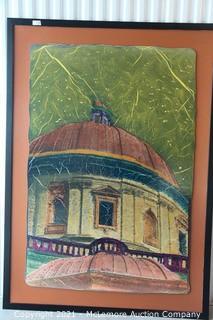 "John Guider ""Duomo del Todi"" Nashville Artist. Original Mixed Media Art  40x60""  Art with 51 x 71"" Frame"