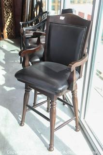 Pair of Ashley Furniture Bar Height Leather Swivel Chairs