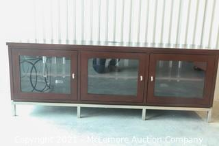 Dark Wood Media Stand with Glass Doors and Metal Base