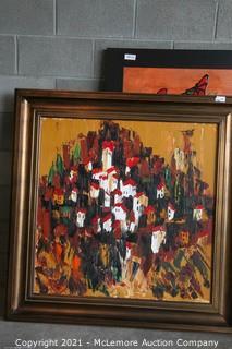 Original European City Abstract Art 46 x 46 Framed