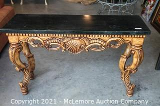 """Carved Wood Marble Top table.  Reproduction.  53""""w x 32""""H x 18""""D"""