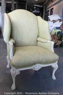 """Distressed Reproduction Upholstered Chair.     37""""W x 34""""D x 50""""H"""