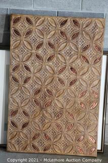 """Decorative Carved Wood and Copper Decorative Art Piece 31"""" x 47"""""""