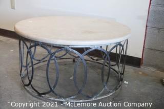"Stone Top Wrought Iron Table 36"" Round"